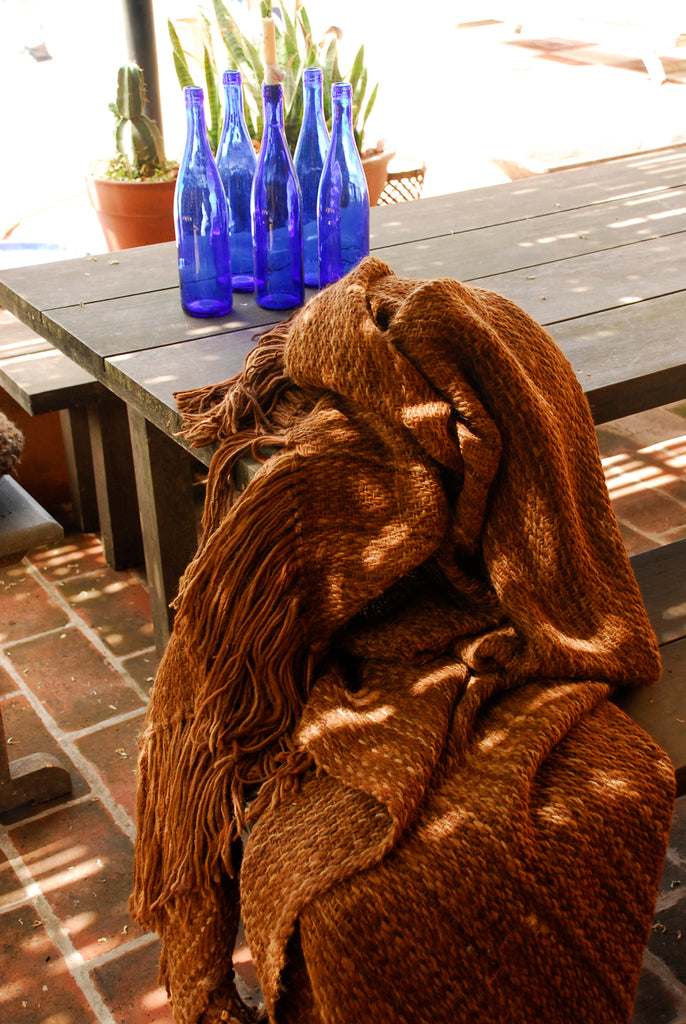 Brown Throw - Woven Wool Throw Blanket | Homelosophy