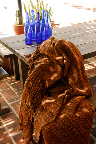 Brown Throw - Woven Wool Throw Blanket