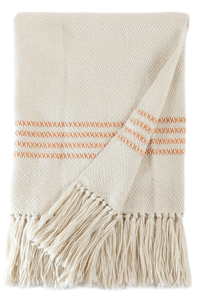 Orange Stripes Woven Throw Blanket