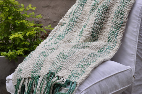 Green Stripes Rustic Cotton Throw Blanket