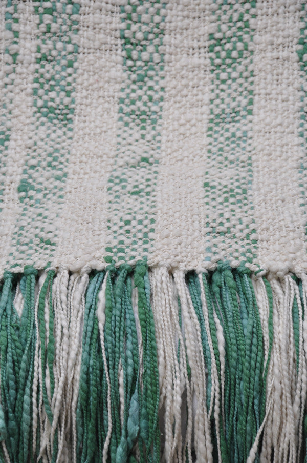 Fabulous Cotton Throw Blanket - Green Rustic Stripes | Homelosophy YS66