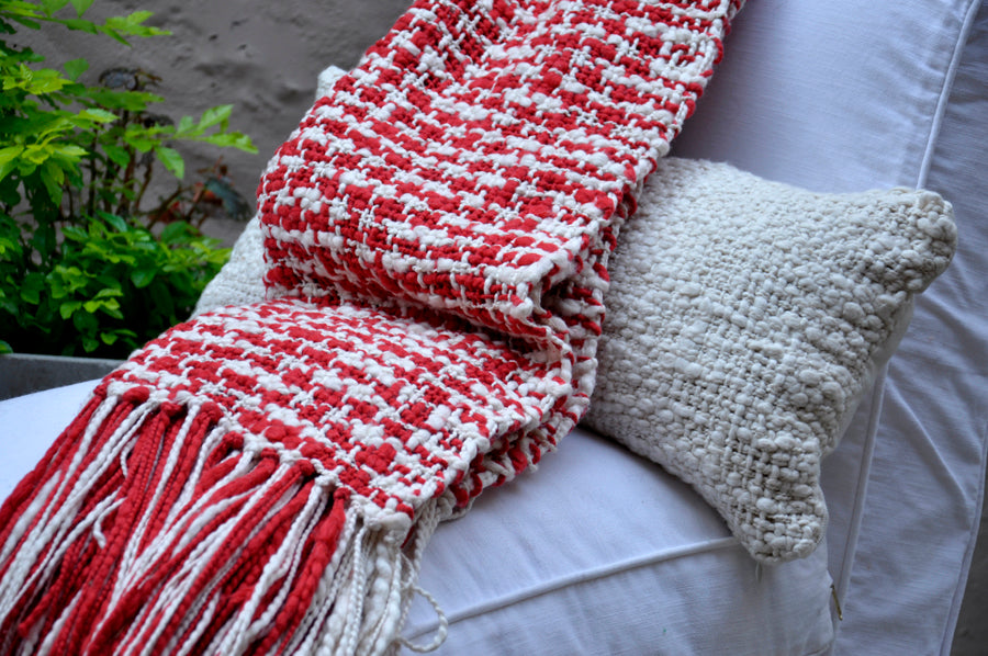 Contemporary Throw Blanket - Red Cotton Throw | Homelosophy