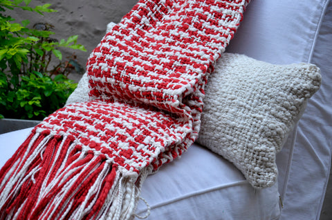Contemporary Throw Blanket - Red Cotton Throw
