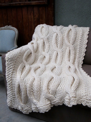 Shabby Chic Throw - Cable Knit Throw