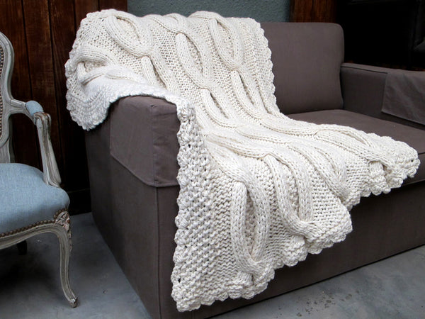 Large Cable Knit Throw Shabby Chic Throw Homelosophy