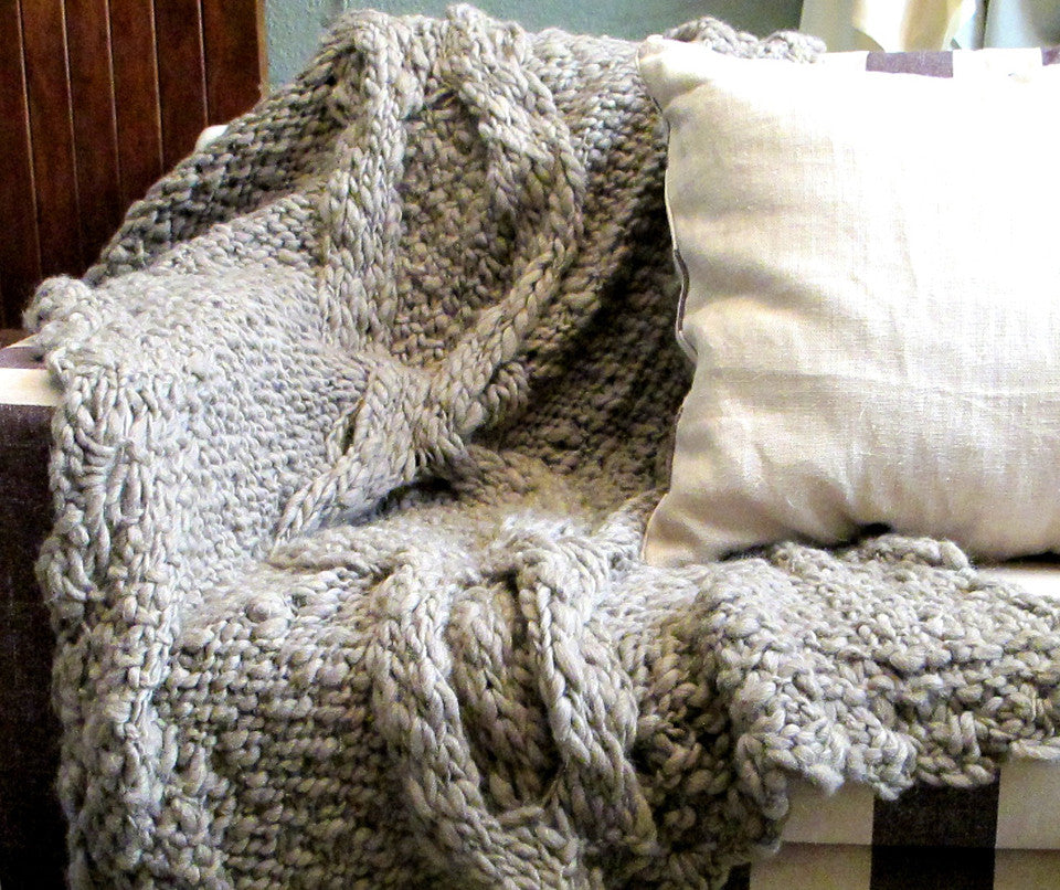 Knit Throw Blanket - Penelope Grey Throw | Homelosophy