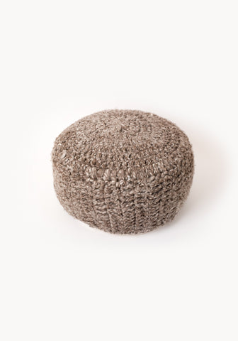 WOOL POUF - Grey Melange
