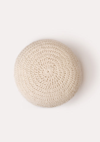 WOOL POUF - Natural Ivory