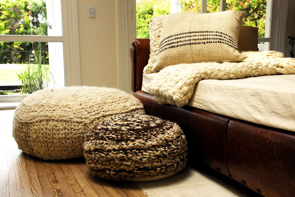 Wool Knitted Pouf