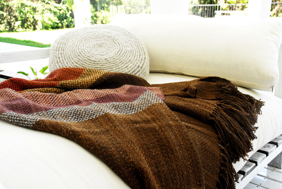 Multicolor Brown Wool Throw