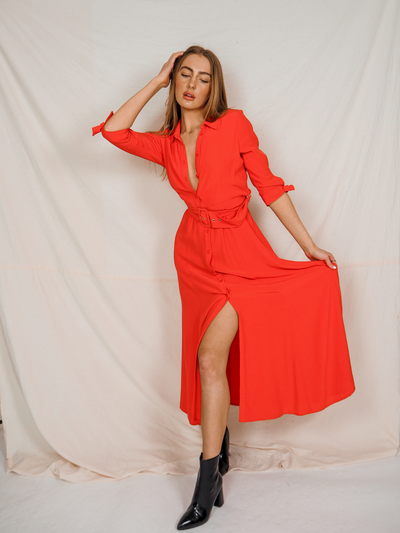 Daphne Red Belted Shirt Dress