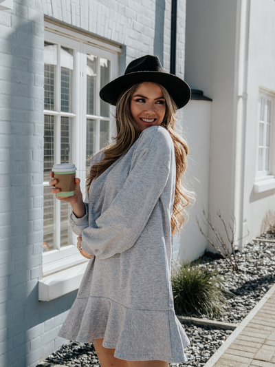 Grey Sweatshirt Dress | Isla Grey Sweatshirt Peplum Dress