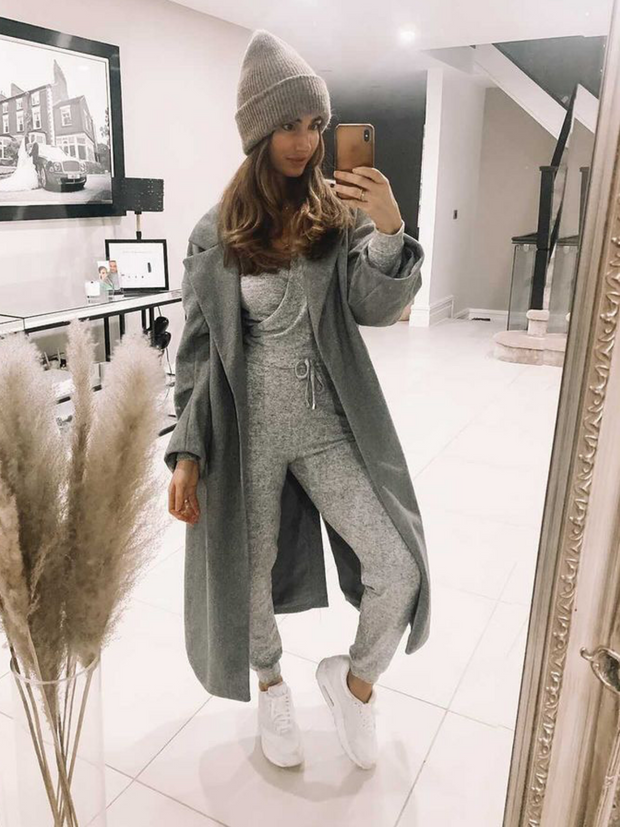 Grey Knitted Jumpsuit | Honor Grey Knitted Wrap Jumpsuit