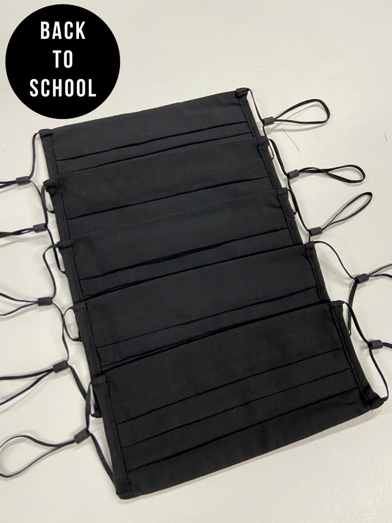 Secondary School 5 Pack For The Week Plain Black Face Coverings - Ages 10 - Adult