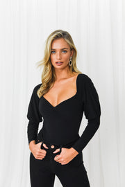 Chi Black Jersey Puff Sleeve Bodysuit
