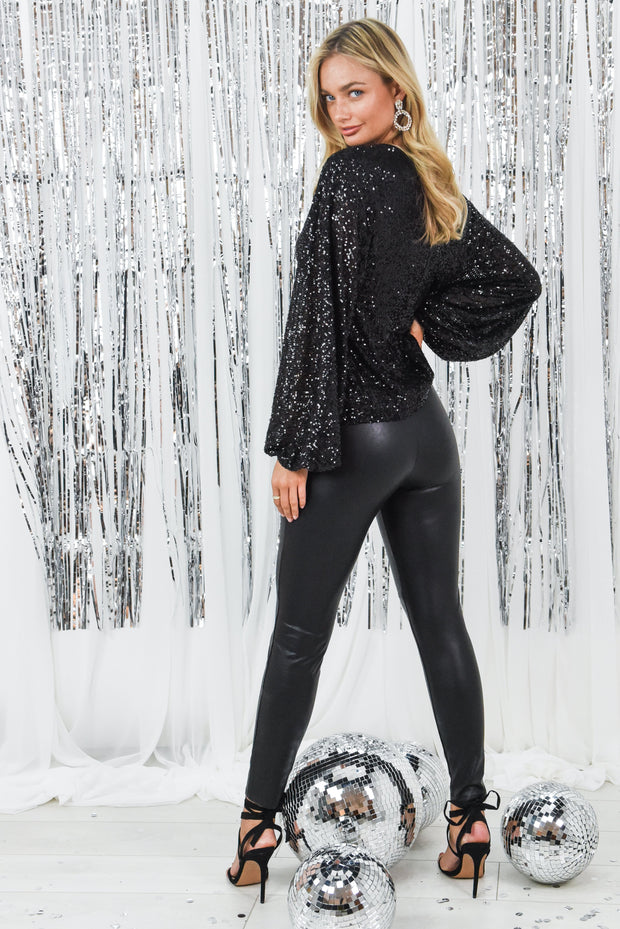 Dulce Black Sequin Top