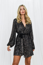 Dani Black Sequin Wrap Dress