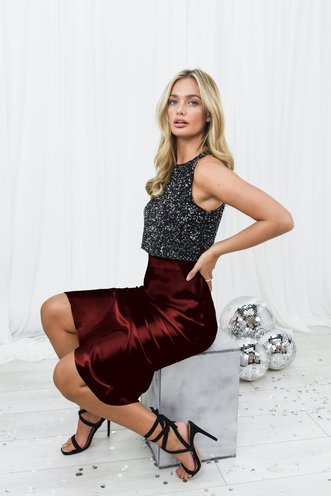 Cara Burgundy Satin Slip Skirt