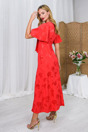 Liberty Red Tie Front Jacquard Dress