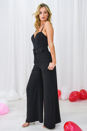 Lila Black Wide Leg Belted Trouser