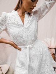 Bethany Cotton Broderie Anglaise Dress In White