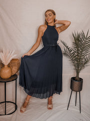 Navy Halter Dress | Luisa Navy Blue Belted Midaxi Dress