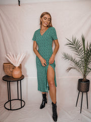 Winnie Animal V Neck Midi Dress In Green and Black