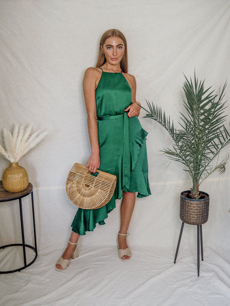Ariana Satin Halter Frill Dress In Emerald Green