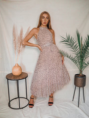 Luisa Neutral Animal Print Belted Pleated Maxi Dress