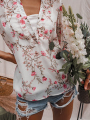 Warwick White Sheer Floral Long Sleeve Top With White Slip