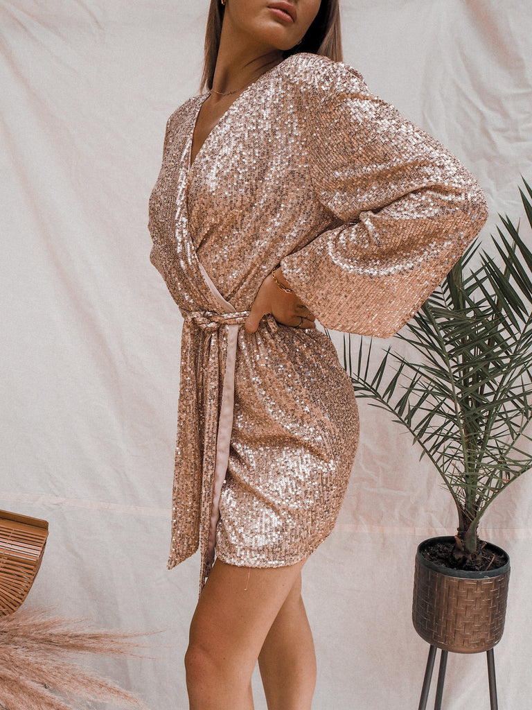 Dani Rose Gold Sequin Wrap Dress – Style Cheat