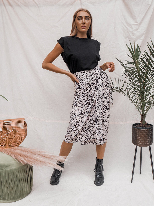 Beau Animal Print Wrap Skirt