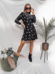 Carrie Black And White Spot Dress