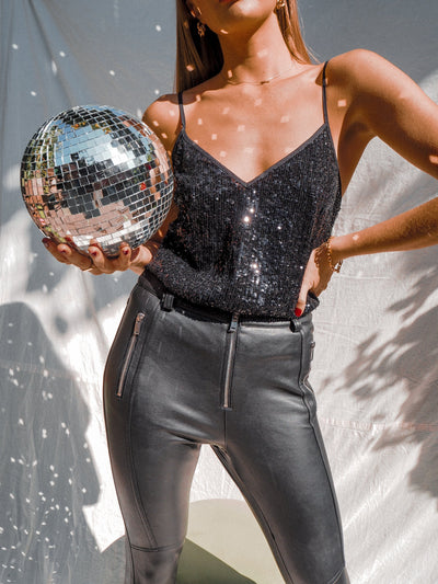 Daya Black Sequin V Neck Top