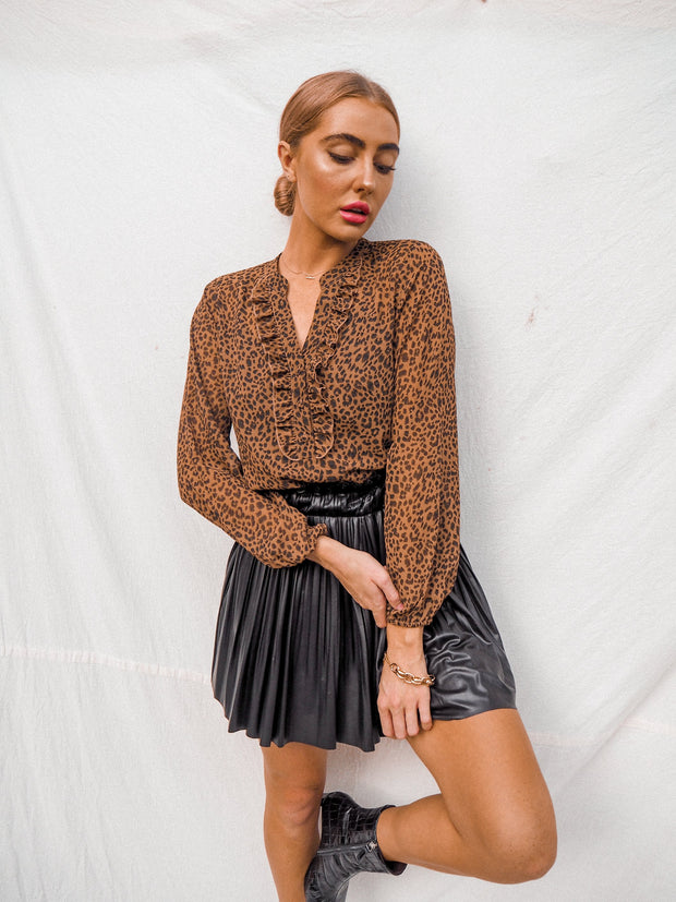 Warwick Animal Print Sheer Long Sleeve Top With Black Slip