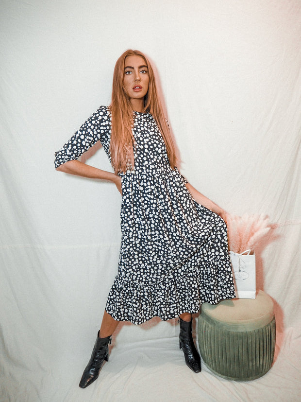 Hallie Black And White Midi Smock Long Sleeve Dress *As Seen On Anna Williamson*