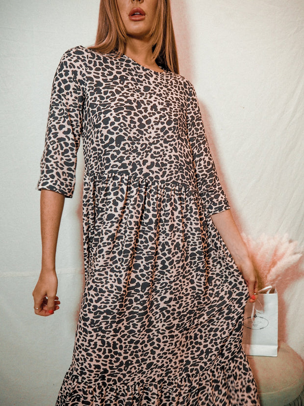 Hallie Animal Print Midi Smock Long Sleeve Dress