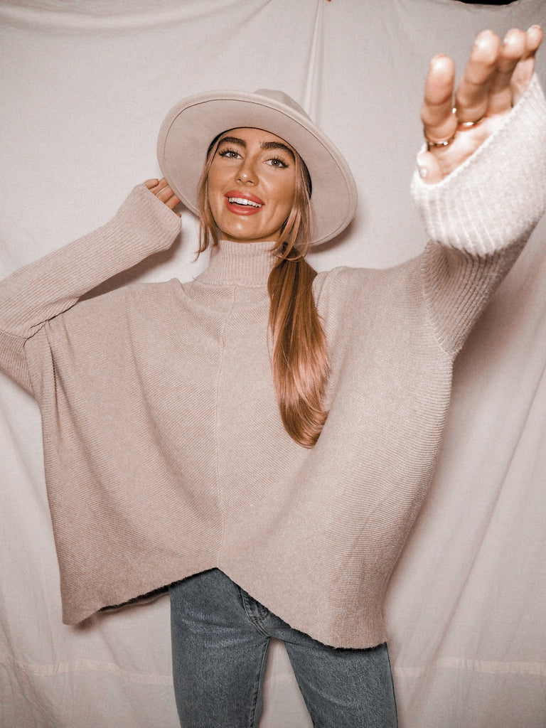 Hope Beige Knitted Oversized High Neck Jumper