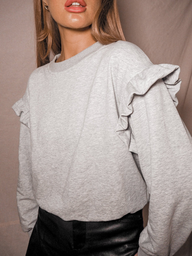 Light Grey Frill Jumper | Ivy Light Grey Frill Long Sleeve Jumper