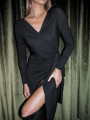 Izzy Black Jersey Long Sleeve Midi Wrap Dress