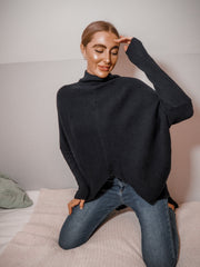Hope Navy Knitted Oversized High Neck Jumper