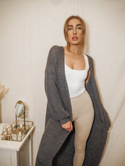 Grey Long Cardigan | Harper Grey Maxi Knitted Cardigan