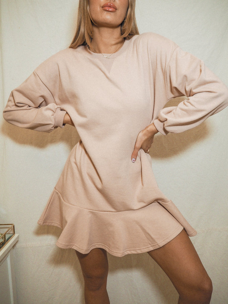 Isla Blush Long Sleeve Sweatshirt Peplum Mini Dress