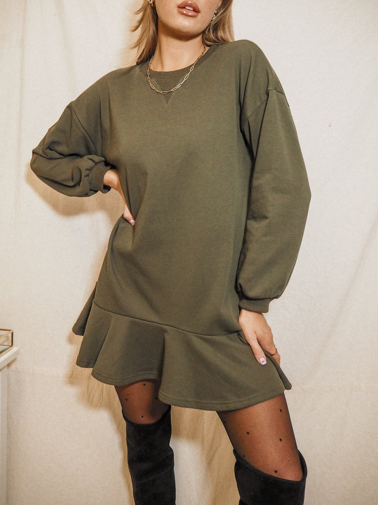 Isla Khaki Long Sleeve Sweatshirt Peplum Mini Dress