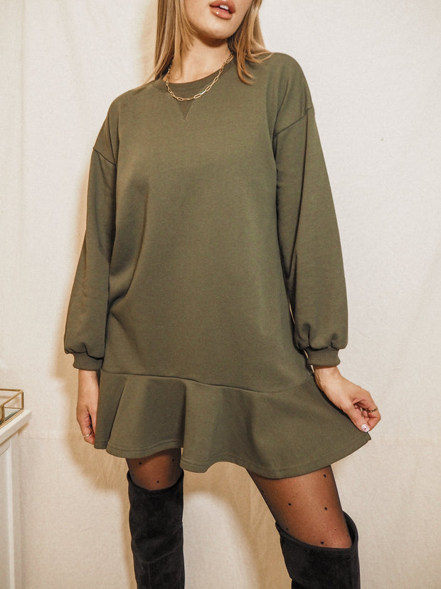 Khaki Sweatshirt Dress | Isla Khaki Sweatshirt Peplum Dress