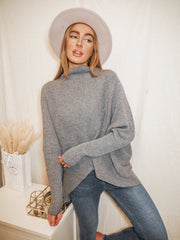 Hope Grey Knitted Oversized High Neck Jumper