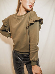 Ivy Khaki Frill Long Sleeve Jumper