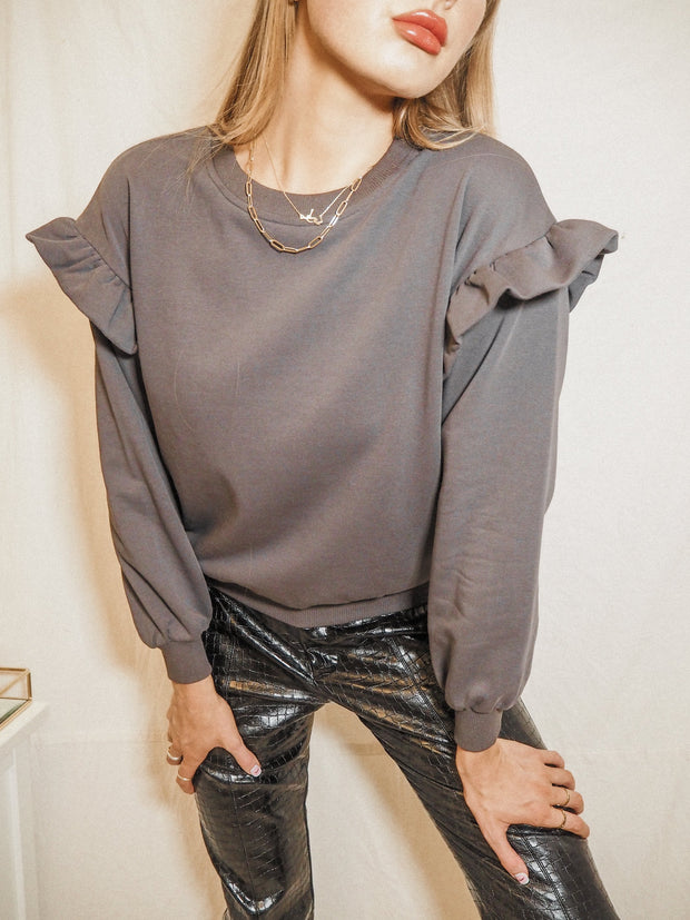 Ivy Slate Grey Frill Long Sleeve Jumper