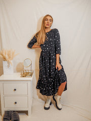 Hallie Star Print Midi Smock Long Sleeve Dress