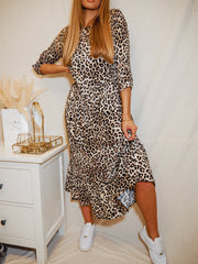 Hallie Leopard Print Midi Smock Long Sleeve Dress